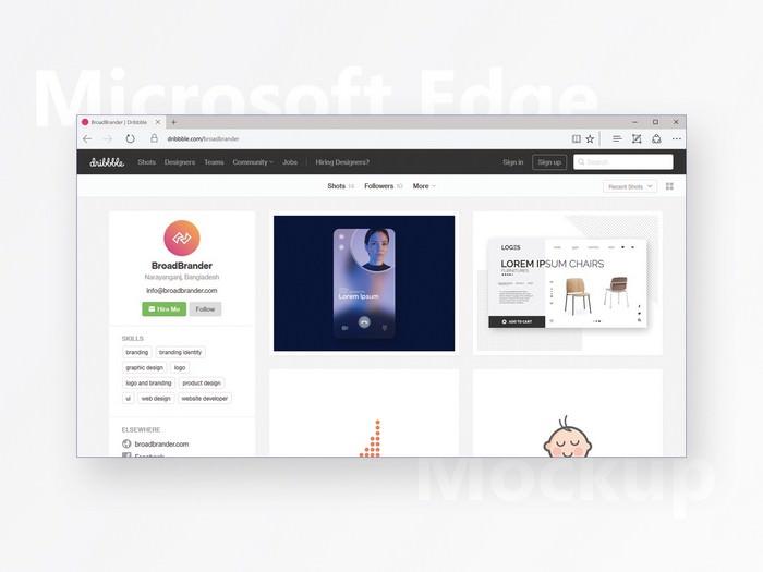 Microsoft Edge Browser PSD Mockup