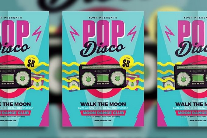 Moon Dance Pop Disco Flyer Template