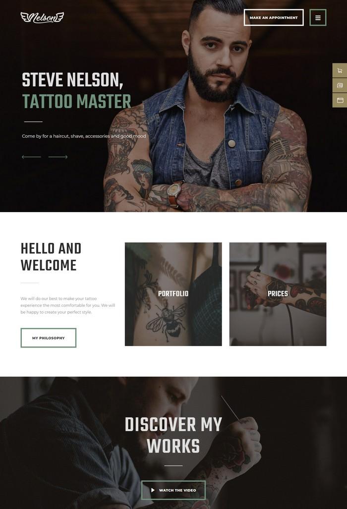 Nelson - Tattoo Salon WordPress Theme