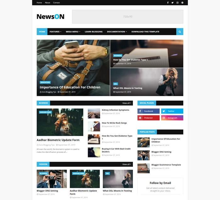 NewsOn Magazine Blogger Template