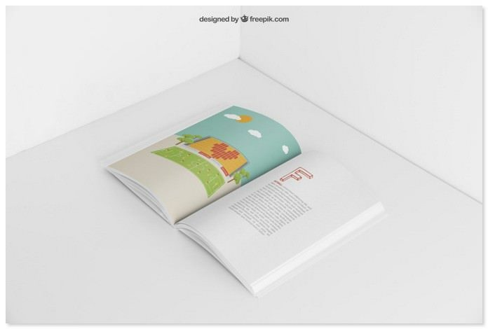 Open Booklet Mockup PSD Free