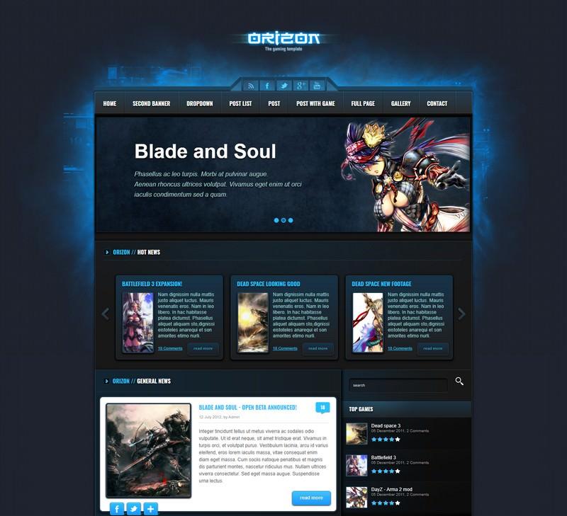 Orizon – The Gaming Template HTML version