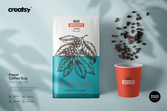 Paper Coffee Bag Mockup Set