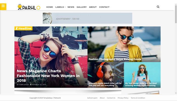 Parhlo Premium Magazine Blogger Template