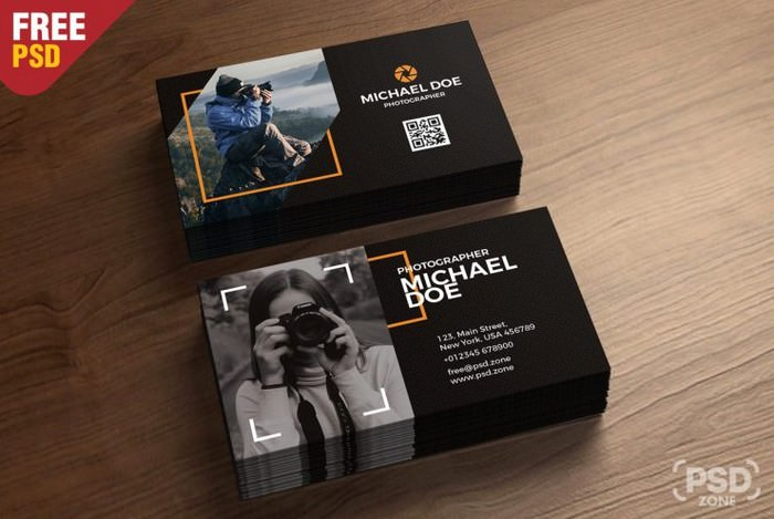 Photography Business Cards Template PSD