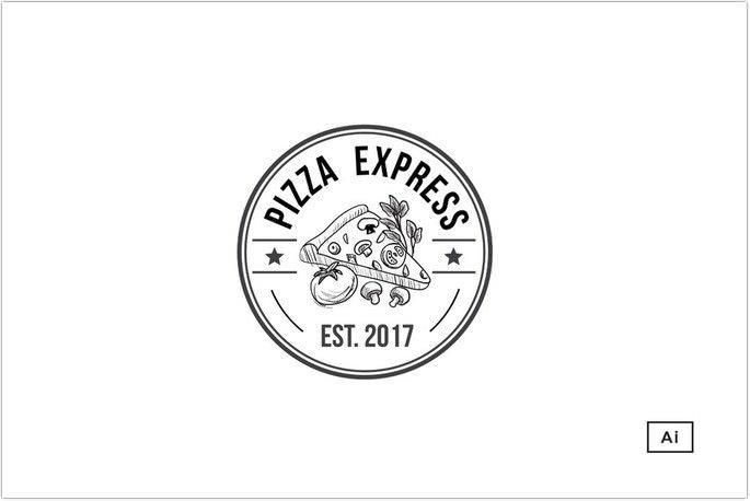 Pizza Retro Logo Template