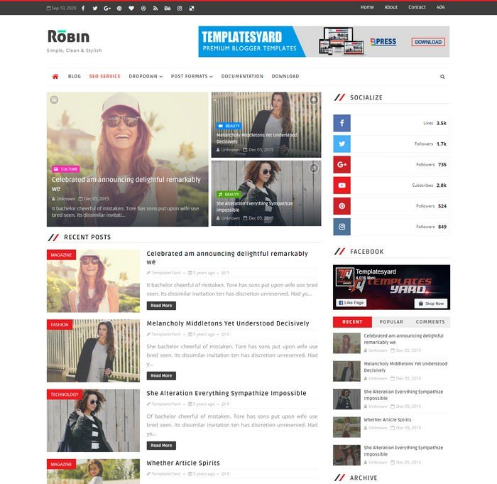 Robin Blog Blogger Template