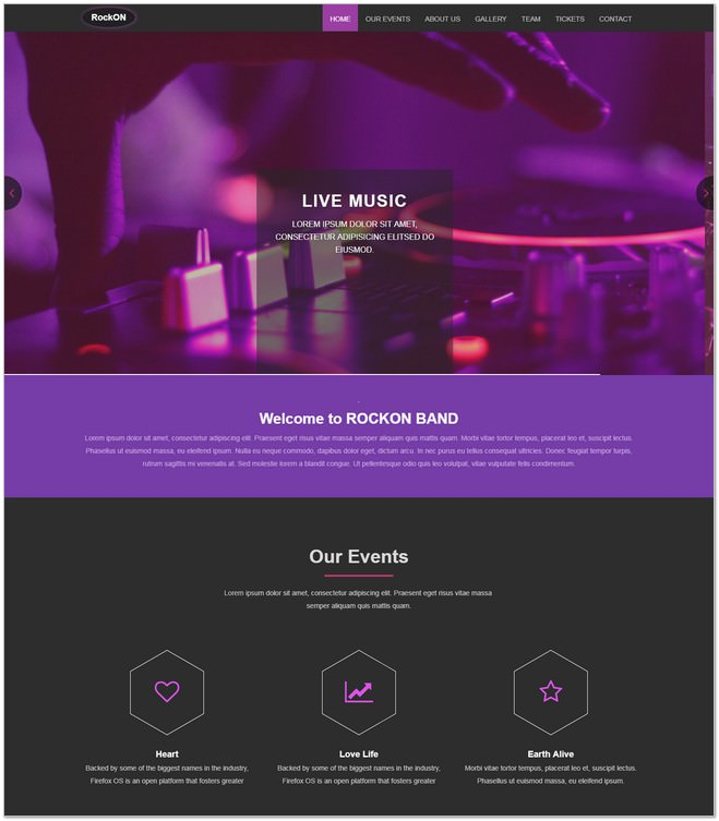 Rockon Free Music Bootstrap Web Template