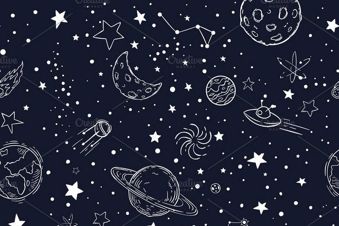 Seamless Night Sky Stars Pattern