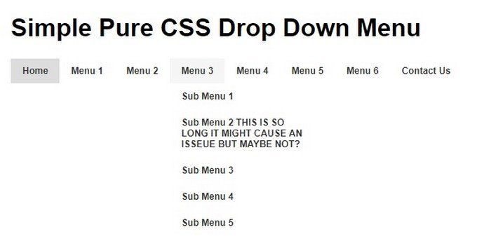 Simple Pure CSS Drop Down Menu