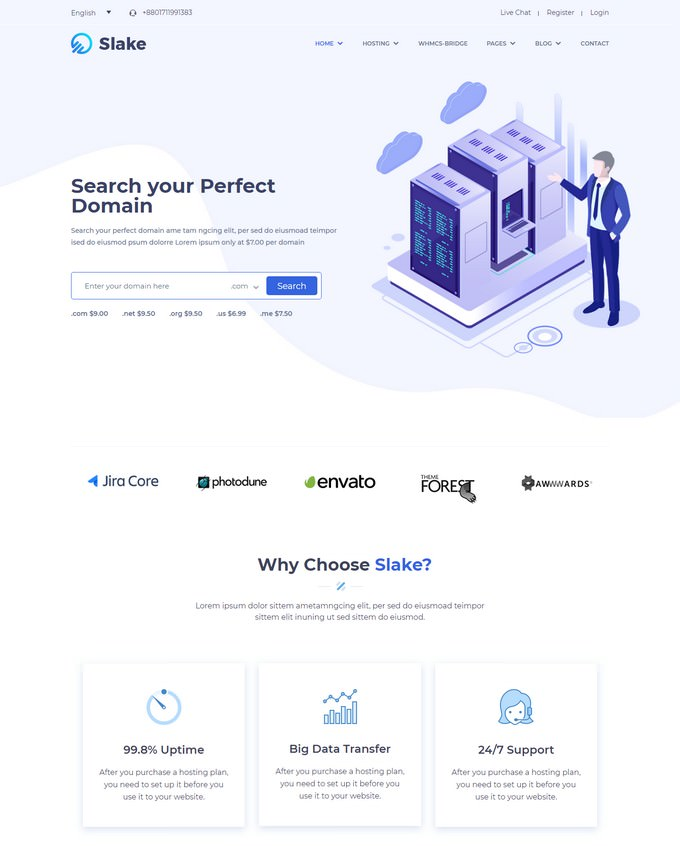 Slake - Isometric Web Hosting And WHMCS WordPress Theme
