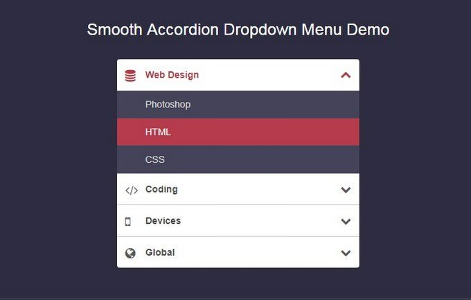 Smooth Accordion Dropdown Menu