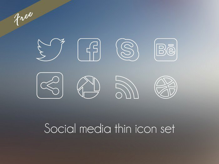 Social Media Thin icon Set