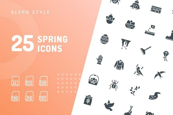 Spring Glyph Icons