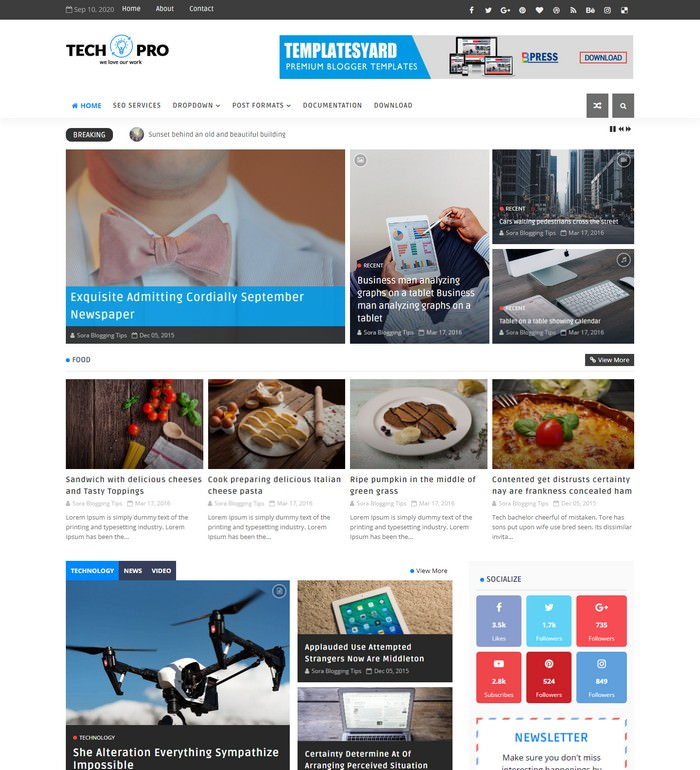 Tech Pro News Magazine Blogger Template