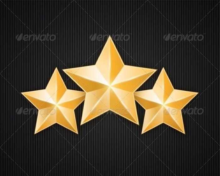 Three Golden Star on Black Textured Background