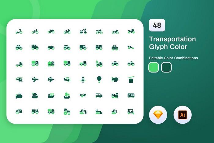 Transportation Glyph Color Icon Set