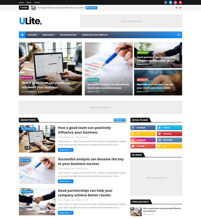 UltraLite Blogger Template