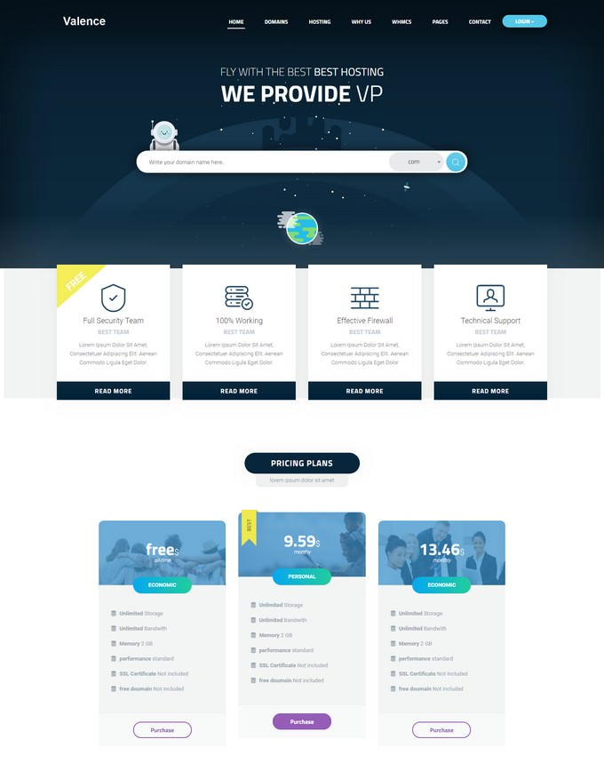 Valence - Website Hosting Company WordPress Theme + WHMCS