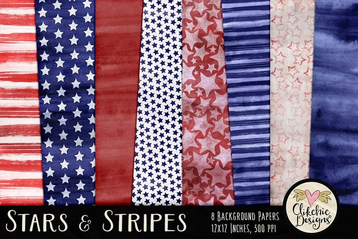 Watercolor Stars & Stripes Textures