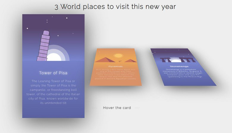 World Places (CSS 3d hover)