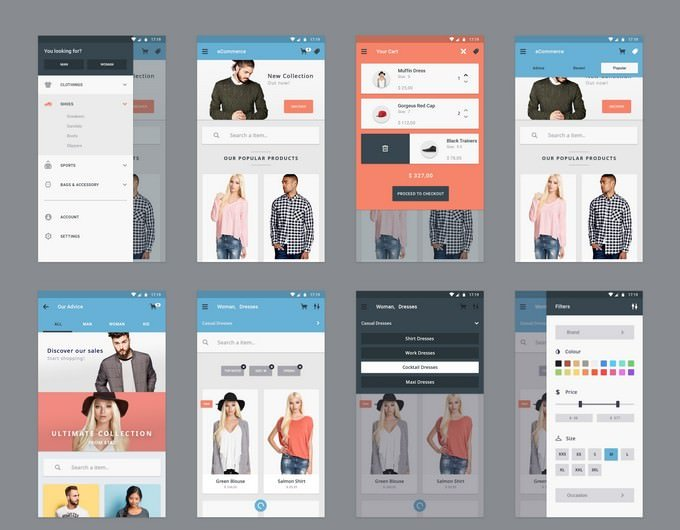 eCommerce Concept - 12 App Screen