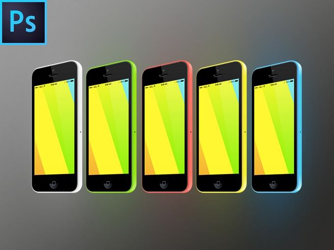iPhone 5c 3,4 View FREE PSD Vector Mockup