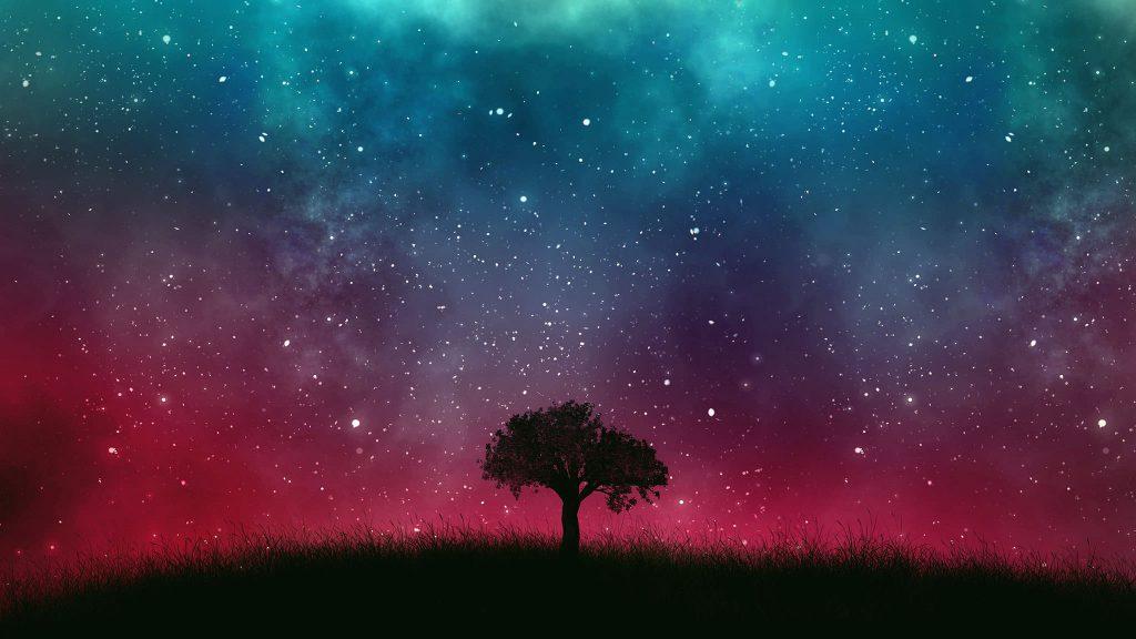 2048 × 1152 space Tree Galaxy HD Wallpaper