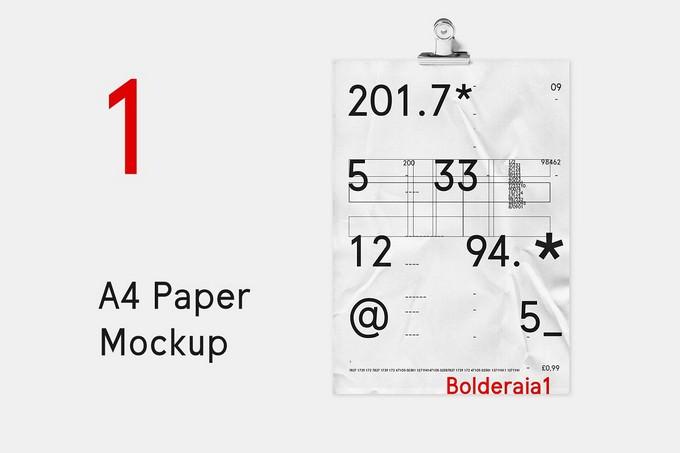 A4 Paper Wrinkle Mockup