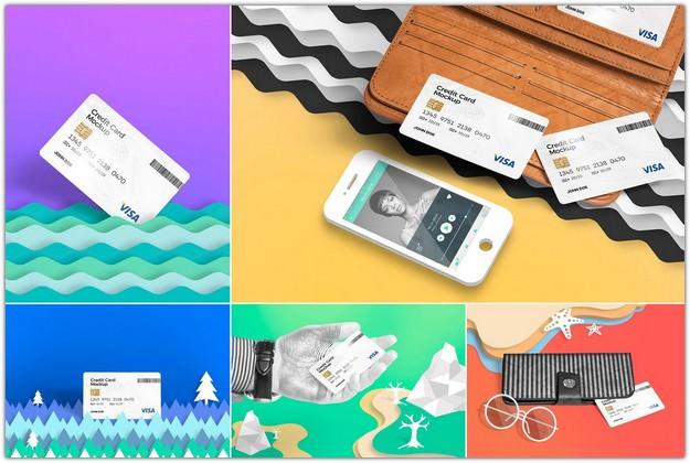5 Credit Card Mockup