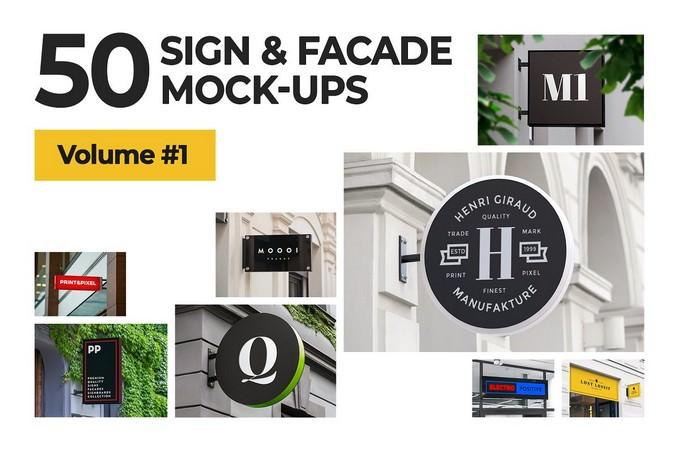 Sign Facade Signboard Logo Mock
