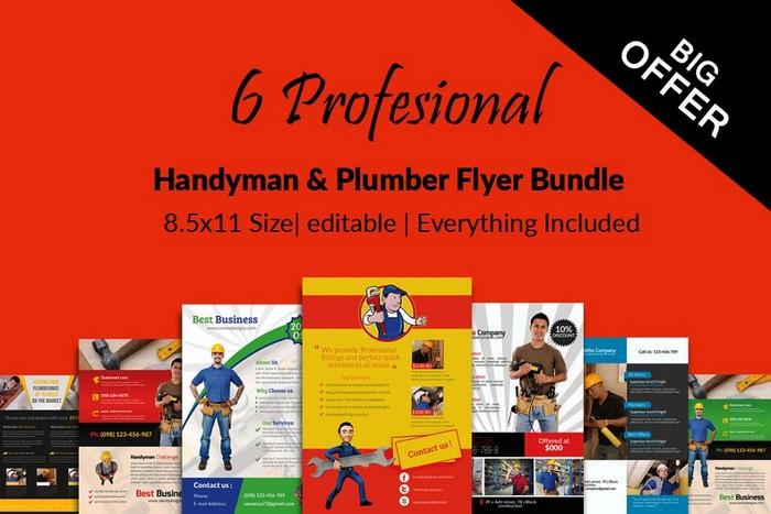 6 Handyman & Plumber Flyers Bundle