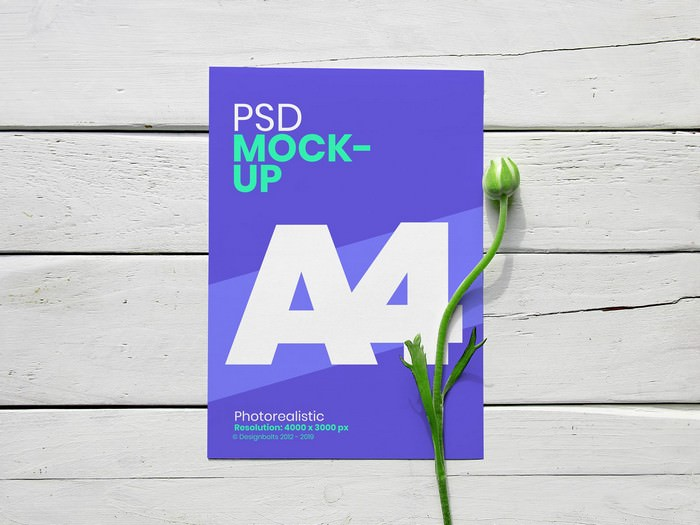 A4 Flyer With Flower Mockup