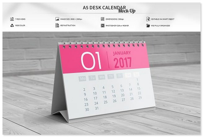 A5 Desk Calendar Mock-Up