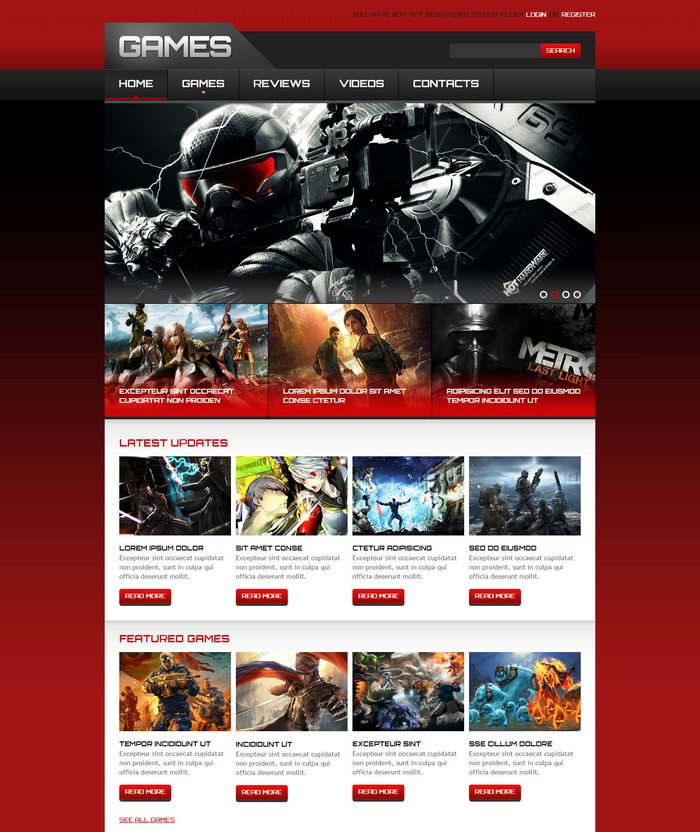 Action Games Responsive Website Template
