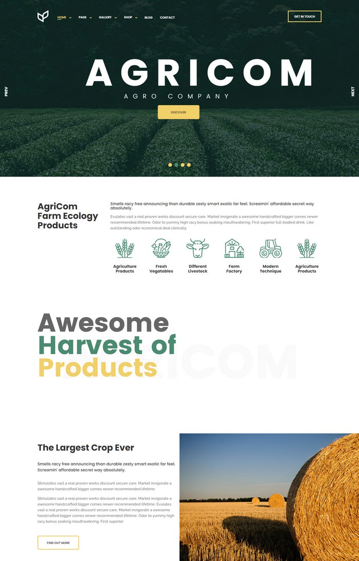 Agricom - WordPress Theme
