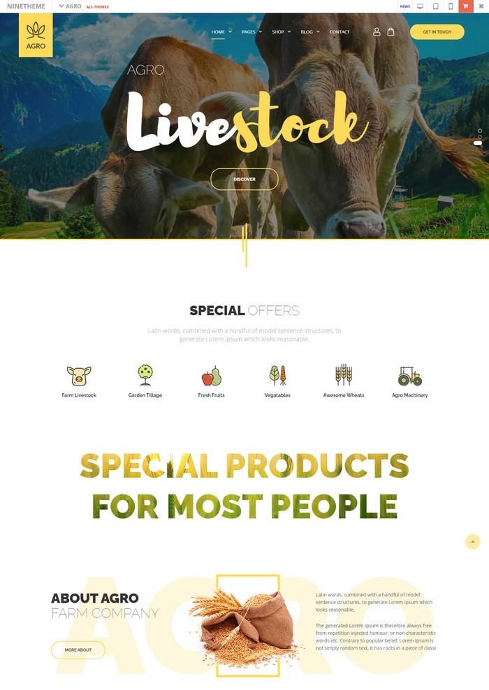 Agro - Organic Food Agriculture Farm WordPress Theme