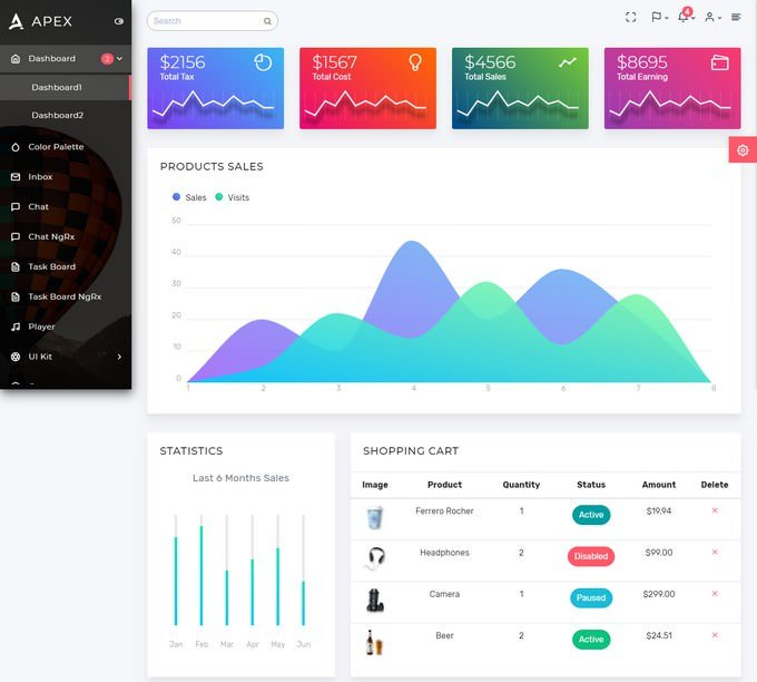 Apex - Angular 7+ & Bootstrap 4 HTML Admin Template