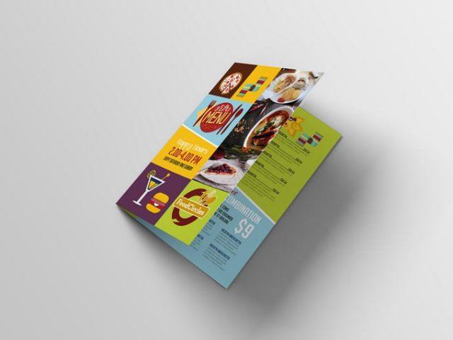 Bi-Fold Restaurant Menu Brochure Mockup