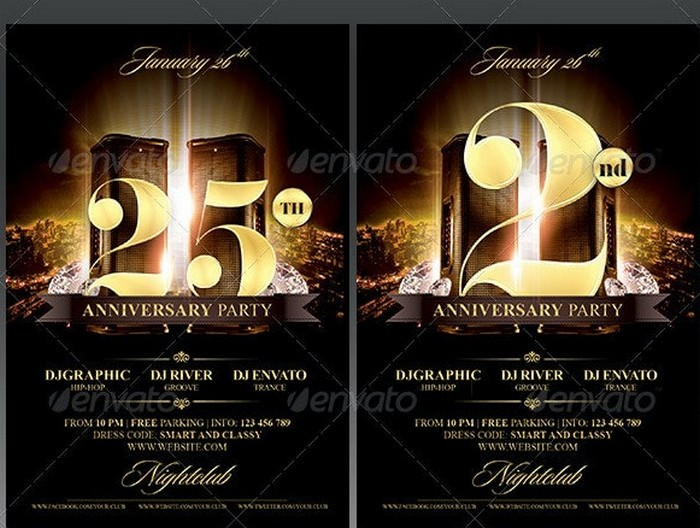 Elegant Birthday Anniversary Party Flyer PSD - 4.25x6.25