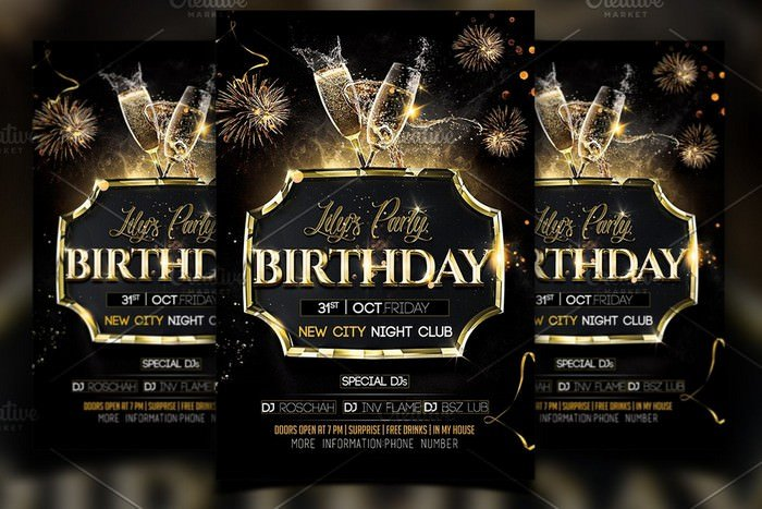 Birthday Flyer Template - 4×6 inch with 0.125 inch bleeds