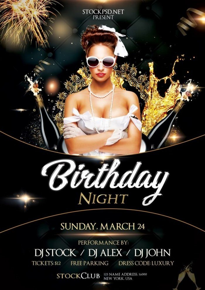 Birthday Gold Night Flyer PSD