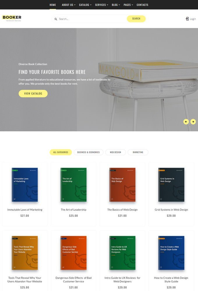 Booker - Textbook Rentals Multipage HTML Website Template