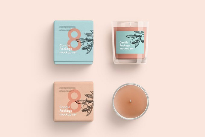 candle glass and box Mockup