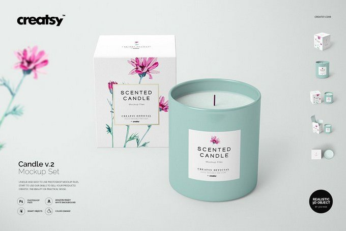 Candle with box Mockup