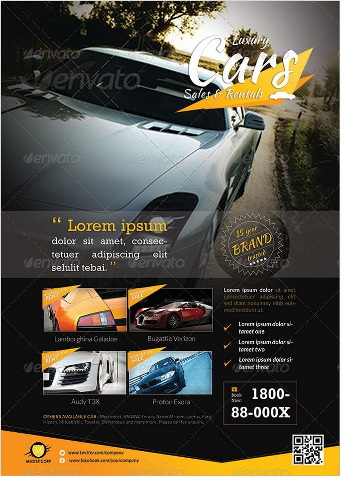 Car Sales Rental Flyer Magazine Ads