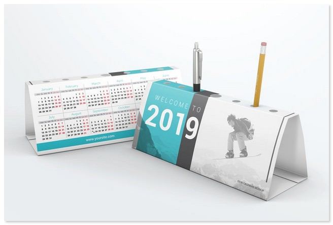 Desk Calendar Pen Holder Mockup