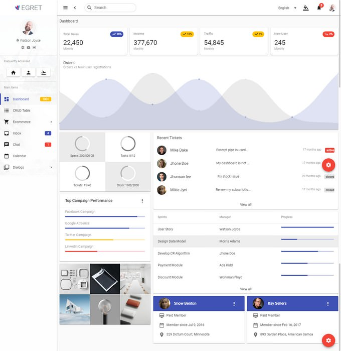 Egret - Angular 7+ Material Design Admin Template
