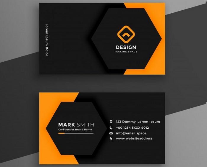 Elegant Minimal Black Yellow Business Card Template