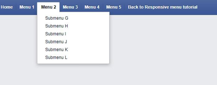 Facebook like Menu Responsive